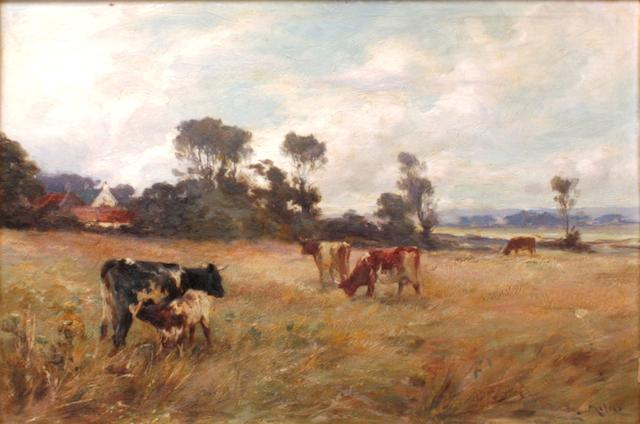 Joseph Milne (British, 1857-1911) Cattle grazing,