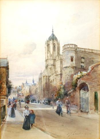 Charles James Lauder, RSW (British, 1840-1920) Street scene, Cambridge