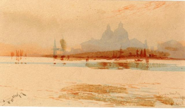 Augustus Osborne Lamplough, A.R.A., R.W.S (British, 1877-1930) Santa Maria della Salute and mist effect on the Lagoon,