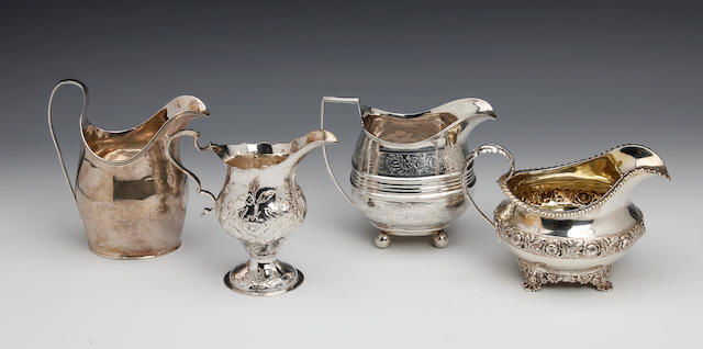 A George IV silver cream jug by Eames and Barnard  London 1822,  (4)