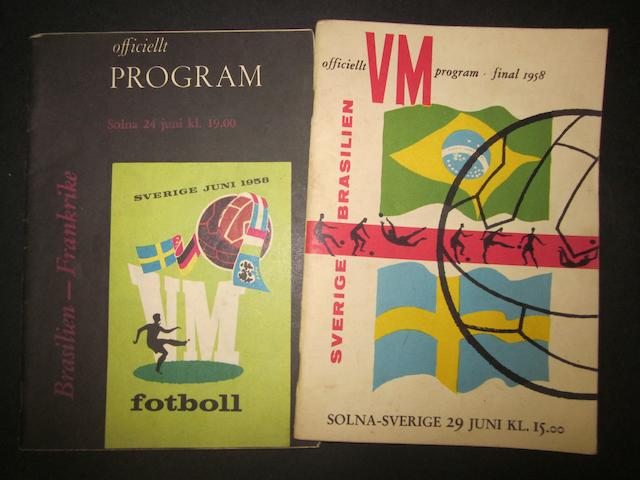 1958 World Cup semi-final and final programmes