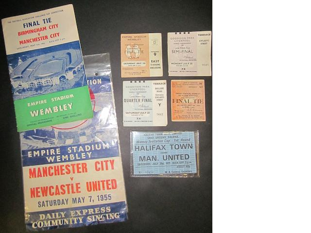 Tickets including 1966 World cup final, semi-final and quarter final, programme 1956 F.A. Cup final