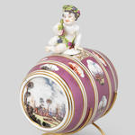 A rare Meissen purple-ground spirit barrel and figural stopper, circa 1740-45