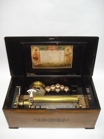 A music box by Paillard Vaucher et fils,with marquetry case, damage to drum.