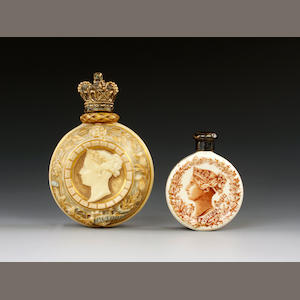 Two Royal Worcester Jubilee scent bottles