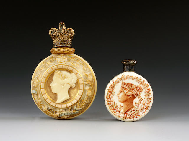 Two Royal Worcester scent bottles, circa 1887