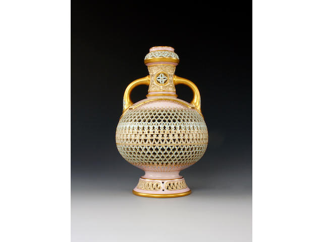 A fine Royal Worcester reticulated vase by George Owen, dated 1889