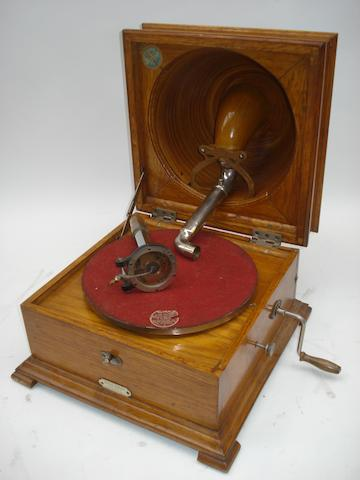 A Pathé 'Elf' bowl-in-lid gramophone,