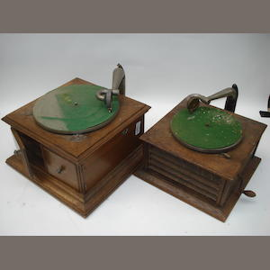 An HMV Model 58 hornless gramophone,