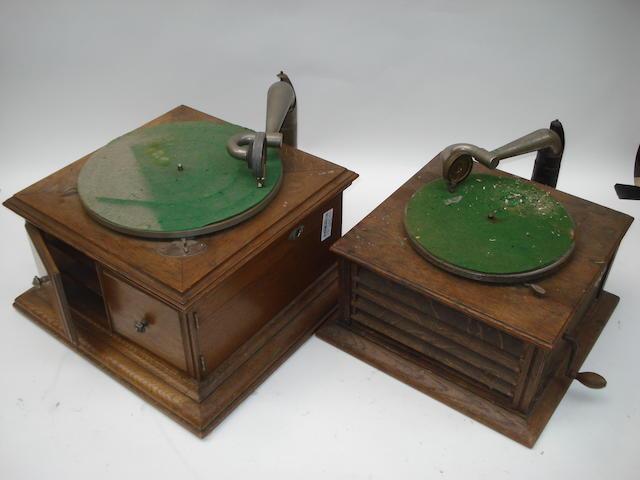 An HMV Model 58 hornless gramophone,