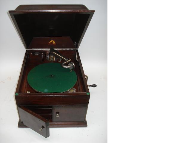 An HMV Model 111 gramophone,