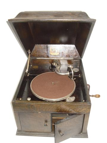An HMV Model 109 gramophone,