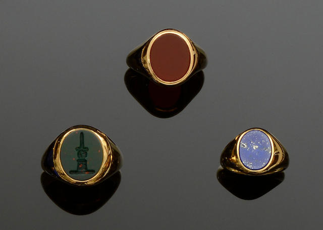 Three modern 18ct gold hardstone signet rings (3)