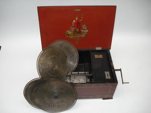 A 9.1/8-inch Brittania disc musical box,
