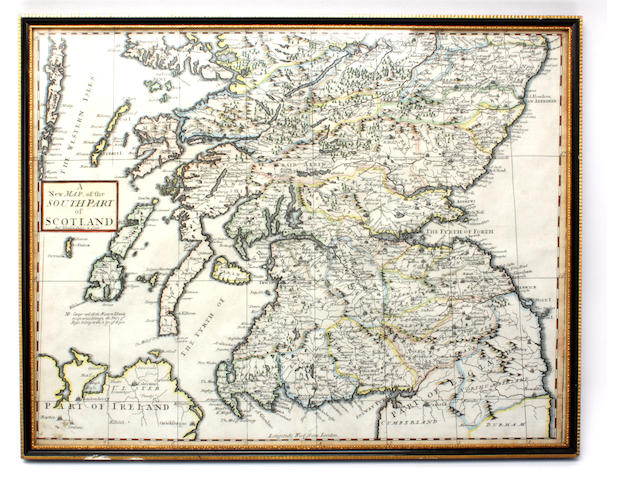 A New Map of the South Part of Scotland, Andrew Johnston, 1722