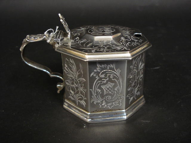 A Victorian silver mustard pot by G.J. Richards, London 1854