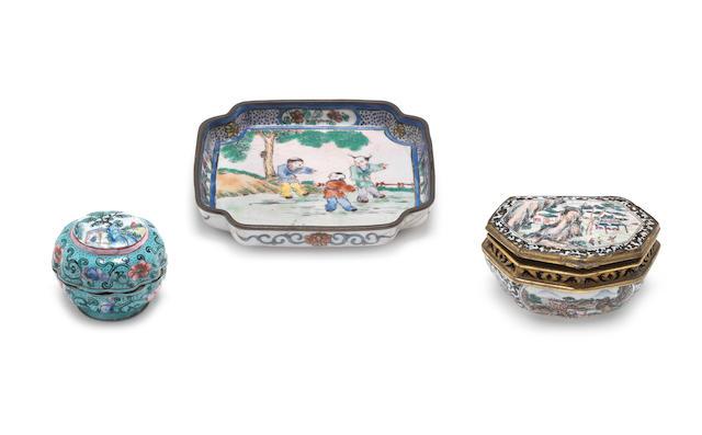 Three Canton enamel wares
