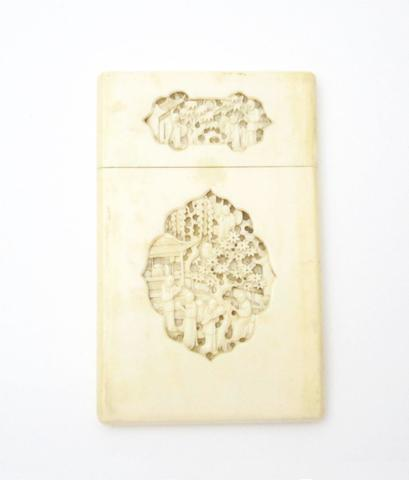 An ivory card case 19th century