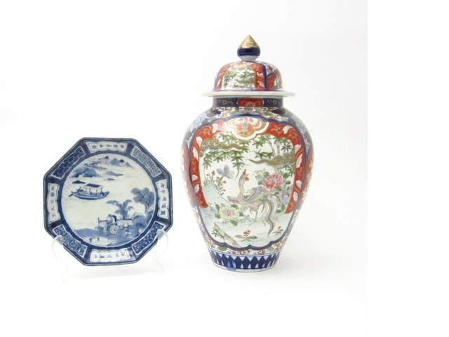 A blue and white dish together with an Imari vase and cover 18th century and later