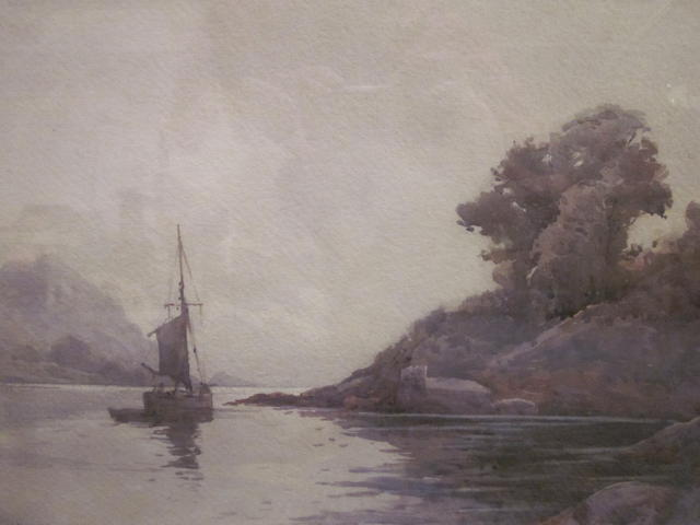 Albert Strange (British, 1855-1917) Sailboat on lake