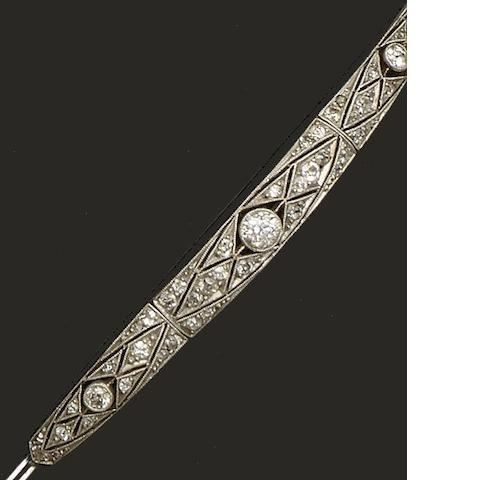 An early 20th century diamond panel bracelet