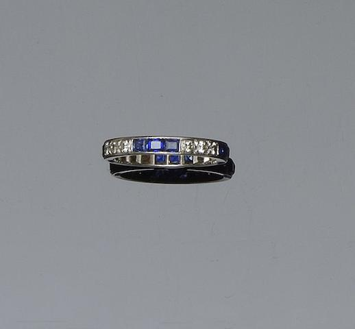 A sapphire and diamond full hoop eternity ring  (2)