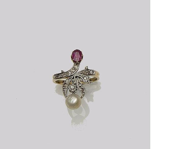 A ruby, half pearl and diamond dress ring