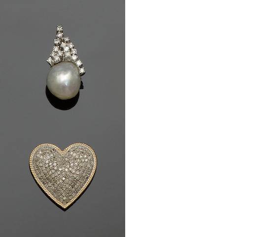A cultured pearl and diamond pendant and a diamond heart pendant (2)