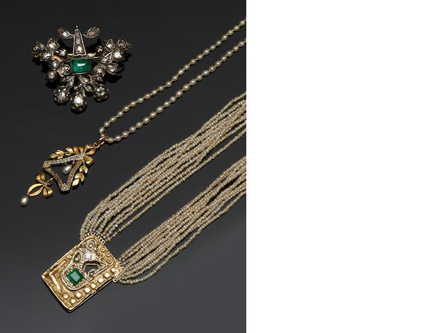 A pearl and diamond pendant, an emerald and diamond brooch and a seed pearl multi-strand necklace  (3)