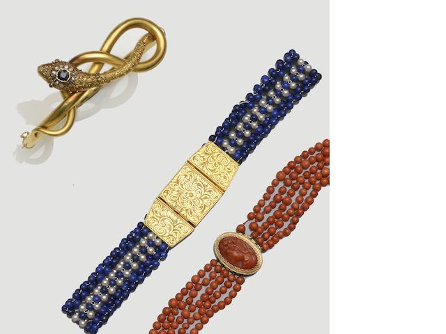 A Victorian serpent bangle, a coral multi-strand necklace and a lapis lazuli and cultured pearl necklace  (3)