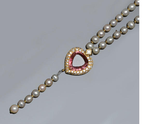 A pink tourmaline, diamond and cultured pearl necklace  (3)