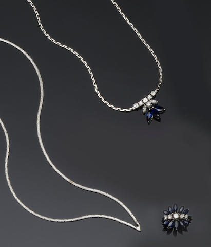 A sapphire and diamond necklace, a sapphire and diamond ring and a necklace (3)