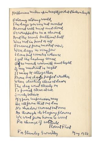 FROST, ROBERT (1874-1963, American poet)
