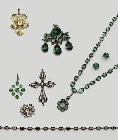 A collection of paste and gem set jewellery  (13)