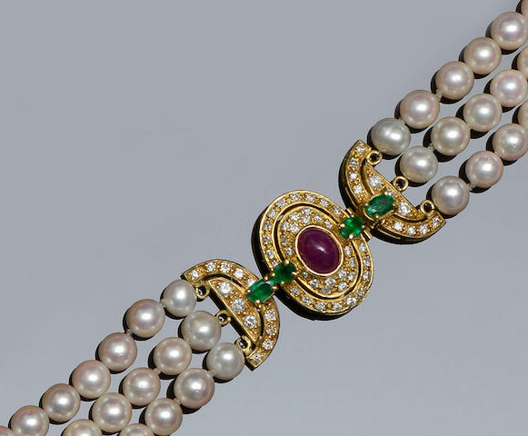 A cultured pearl and vari gem-set necklace