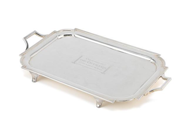 REGIMENTAL INTEREST: A silver two-handled tray by Thomas Bradbury & Sons, London 1900