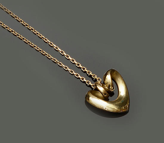 Georg Jensen: A Danish 18ct gold heart-shaped pendant, designed by Regitze Overgaard