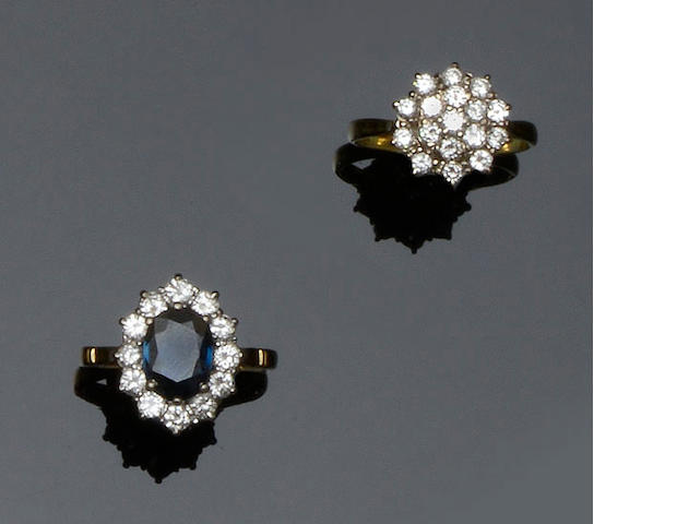 A sapphire and diamond cluster ring and a diamond cluster ring (2)