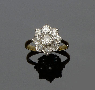 An old-cut diamond cluster ring