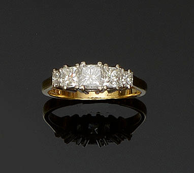 An 18ct gold diamond five stone ring