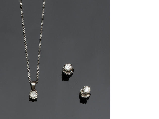 A pair of diamond single stone earpendants and a pendant (2)