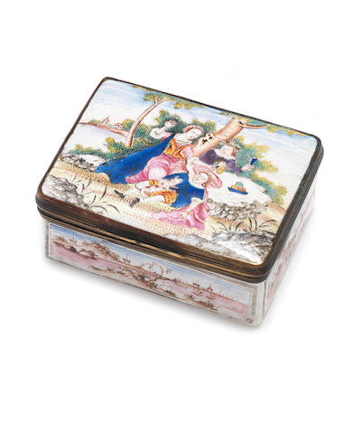 A Canton enamel 'European subject' box and cover 18th century