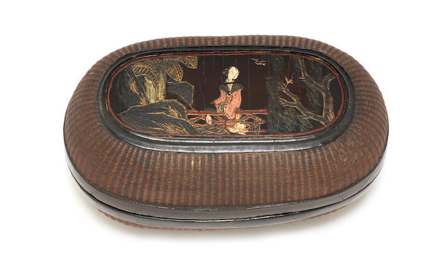 An oval lacquer box and cover  17th century