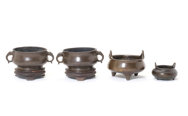 Four circular incense burners Qing Dynasty or later