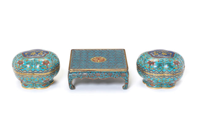 Three cloisonné enamel objects Qing Dynasty