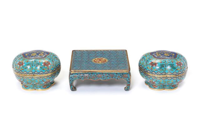 Three cloisonné enamel objects Qing Dynasty