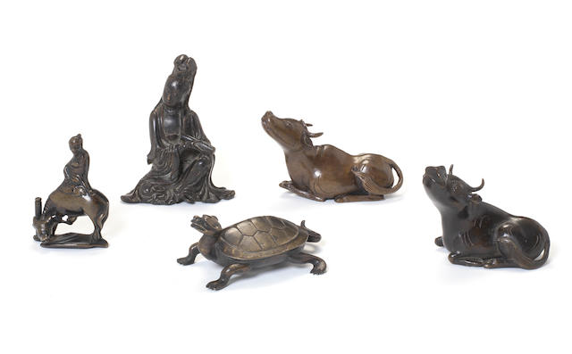 Five small bronze or other metal figures Qing Dynasty and later
