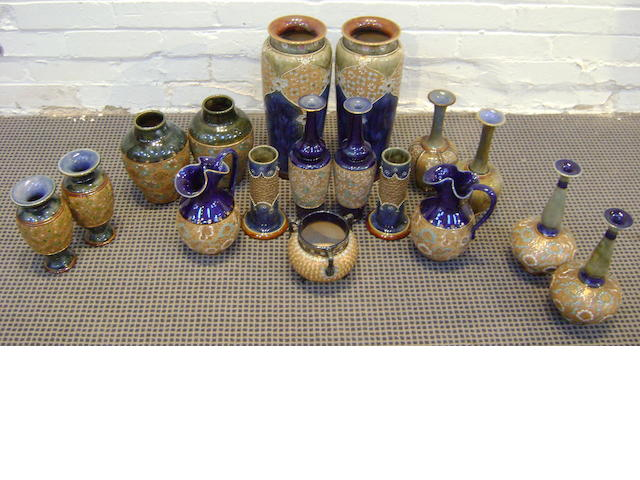 A large collection of Royal Doulton 'lace' decoration vases early 20th Century