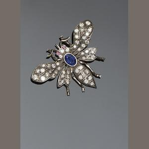 A vari gem-set butterfly brooch