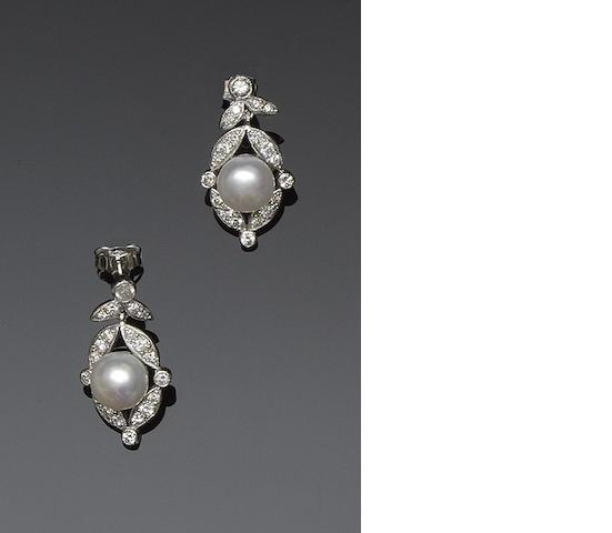 A pair of Victorian style diamond and freshwater cultured pearl earpendants
